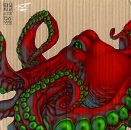 painting on cardboard octopus