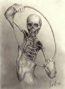 skeleton and figure oval