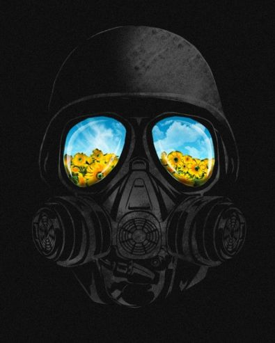 gas mask reflection