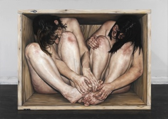 within the wooden box