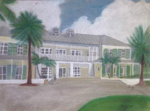 Beatrice Galdamez, Hotel Bahamas, 2015. Hard pastel & color pencil, 20″ X 15″