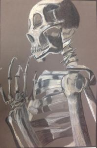 Christy Reynolds, Thinking Skeleton, 2015. Color pencil, 20 in X 13 in.