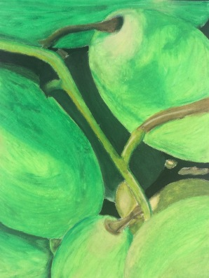 Genesis Rivas, Life Of A Grape, 2015. Oil Pastel, 25″x19.5″