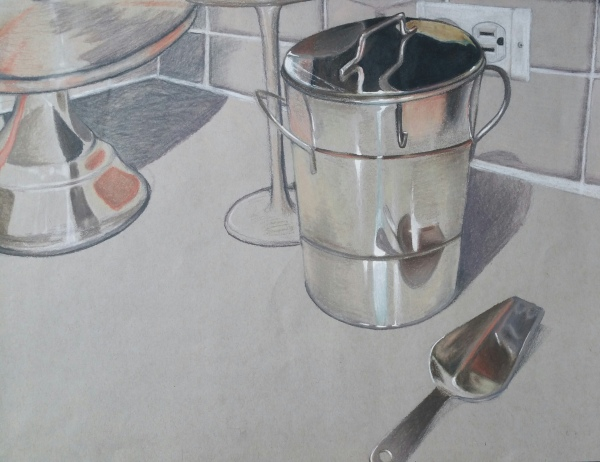 Keanne Jones, Ice Bucket, 2015. Color pencil, 11in x 14in.