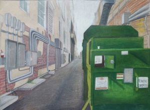 Keanne Jones, Sketchy Alley, 2015. Colored pencil, 9in x 12in.