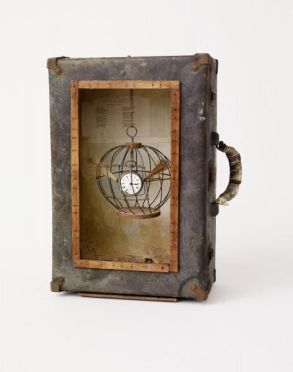 clock in a cage
