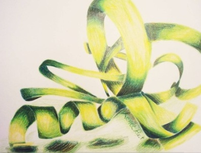 colored green and yellow ribbon