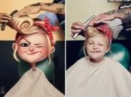girl in barber seat