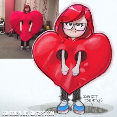 girl in heart costume