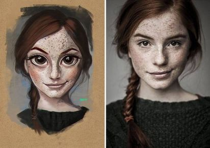 girl with braid and freckles