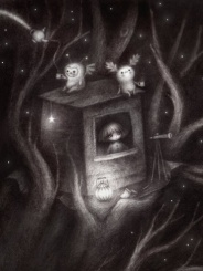 tree-house-at-nighttime