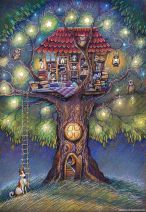 tree house of lights and books