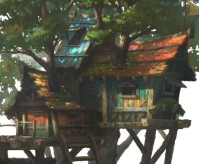 tree house of plank wood