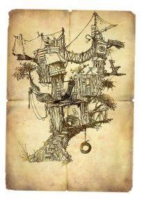 tree house on sepia