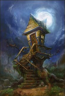 tree house under the moon