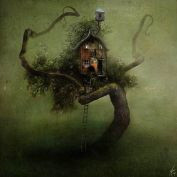 tree house with long ladder