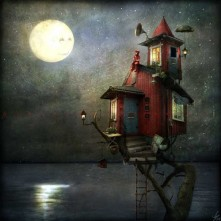 tree house with smiling moon