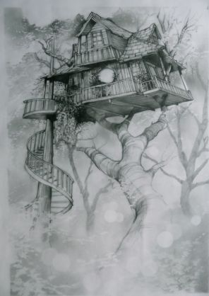tree house with spiral staircase