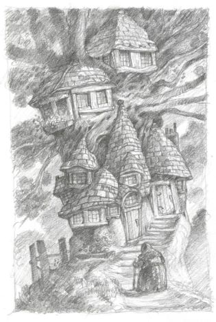 tree house with tile roof
