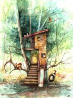 tree house with tire swing