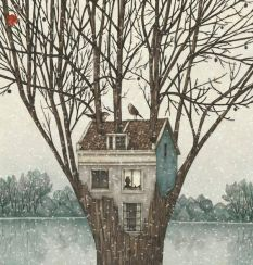 treehouse in the winter