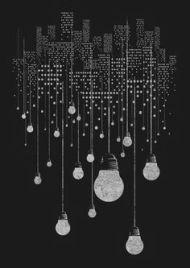 nightlife with hanging lightbulbs B&W
