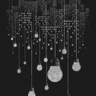 nightlife with hanging lightbulbs B&W