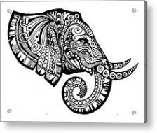 zentangle elephant profile