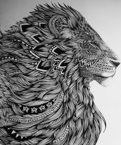 zentangle lion profile