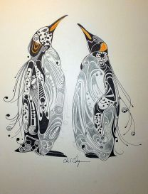 zentangle penguins
