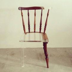 plastic and wood chair