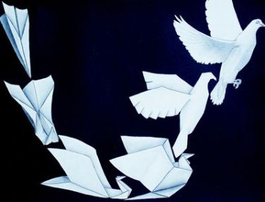 paper airplane to bird