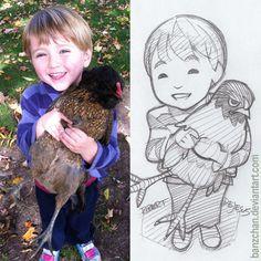 boy with chicken