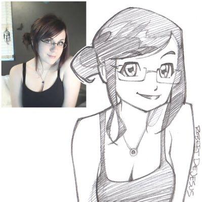 bun girl with glasses