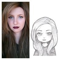 girl with purple lipstick