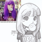 purple hair girl with bubblegum