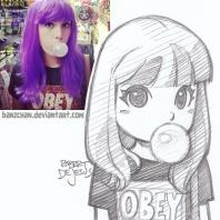 purple hair girl with bubblegum