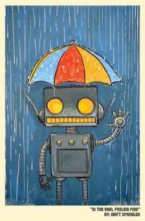 Matt Spangler in the rain feeling fine robot print
