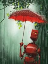 red robot in rain