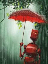 red robot in rain