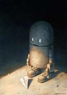 robot with paper airplane