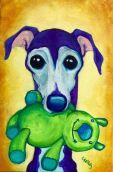 Blu pooch cartoon pet portrait