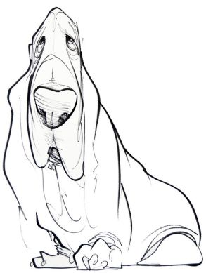 dsroopy bassett pet cartoon portrait