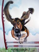 flying bassett ears cartoon portrait
