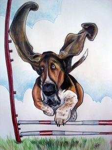flying bassett ears cartoon portrait