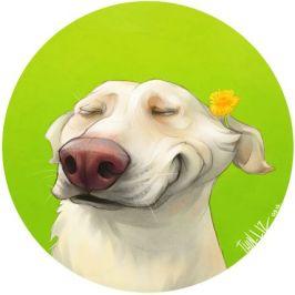 smiling pooch cartoon pet portrait