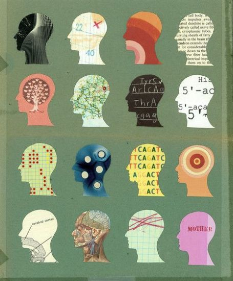 collaged heads