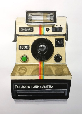 "Polaroid Land Camera, 2018. Pen & ink and marker on paper (12"" x 9"")."